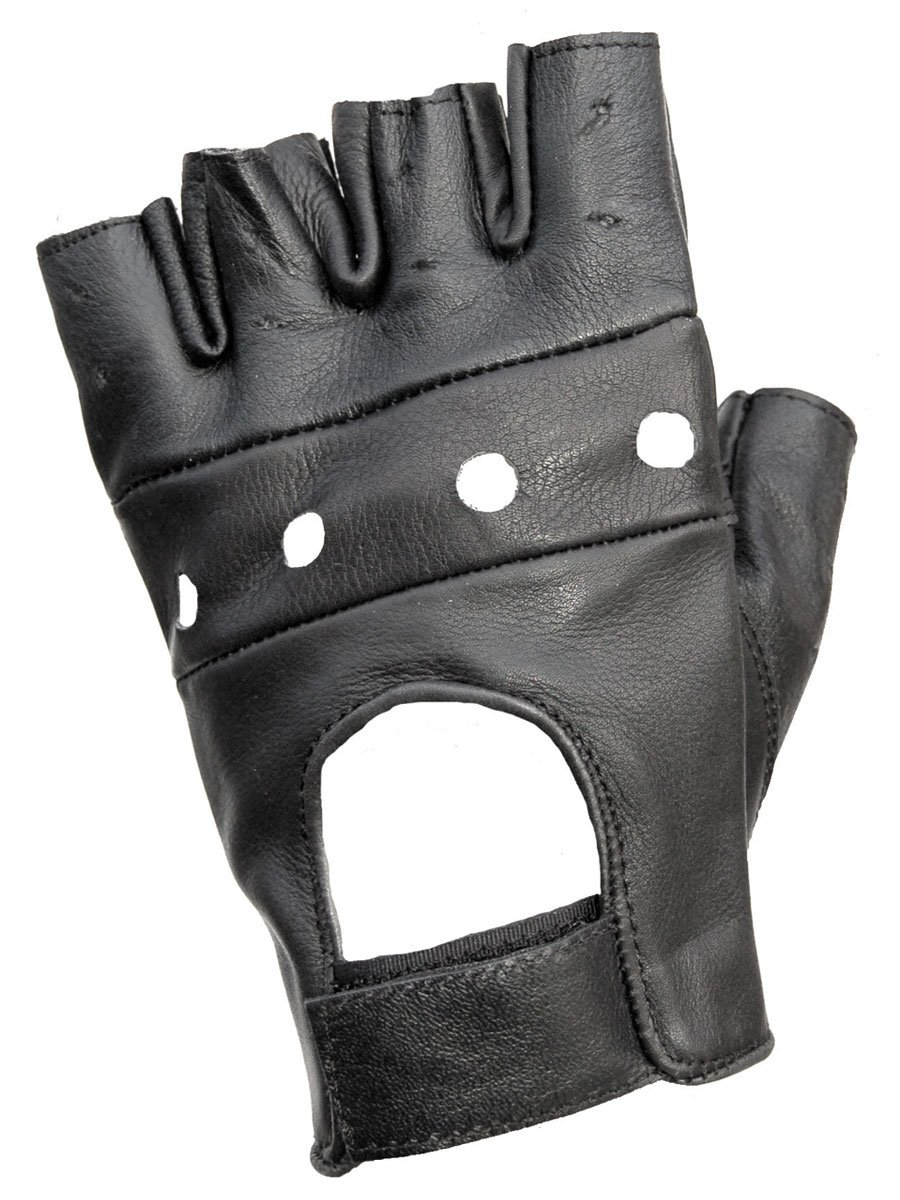 Motorcycle gloves d30 - Jts Fingerless Leather Motorcycle Gloves