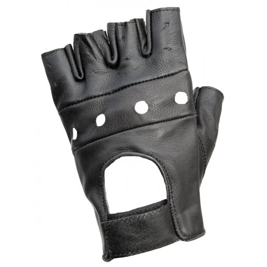 JTS Fingerless Leather Motorcycle Gloves