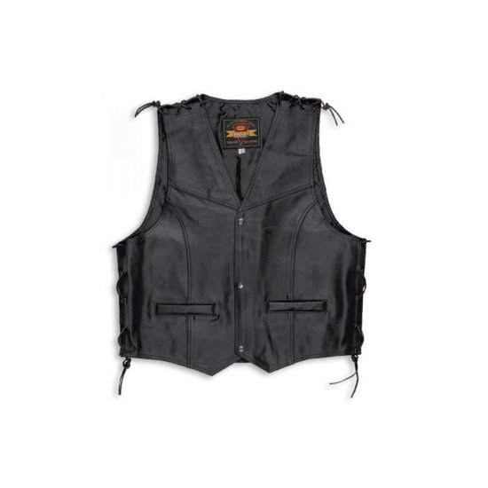 Held Patch Leather Motorcycle Waistcoat Art 5472