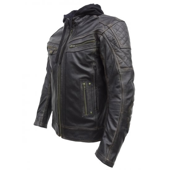 JTS Leon Mens Leather Motorcycle Jacket