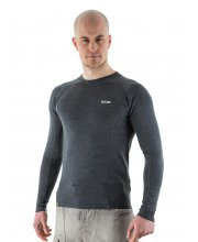 EDZ Merino Wool Men's Crew Neck Base Layer Grey