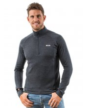 EDZ Mens Merino Wool Long Sleeve Zip Neck Top