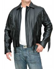 JTS 777 Fringed Mens Leather Motorcycle Jacket