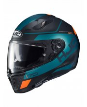 HJC I70 Karon Blue/orange Motorcycle Helmet at JTS Biker Clothing