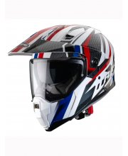 Caberg X-Trace Savana White/Red/Blue Motorcycle Helmet at JTS Biker Clothing
