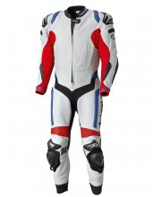 Held Race Evo One Piece Motorcycle Leathers White Red Blue